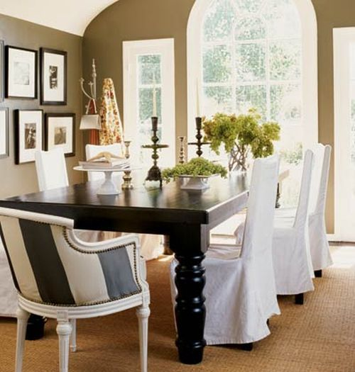 Black And White Slip Covers For Dinning Chairs