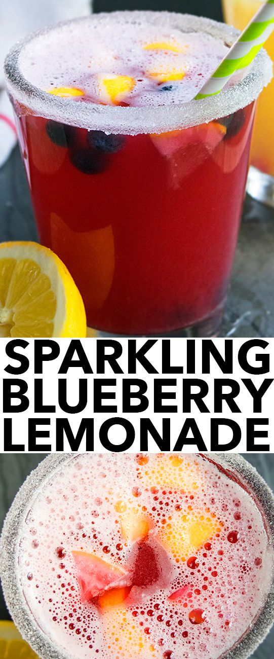 Quick and easy SPARKLING LEMONADE RECIPE (non alcoholic), made with simple ingredients. This sparkling blueberry lemonade is refreshing and bubbly. {Ad} From cakewhiz.com #sparklinglemonade