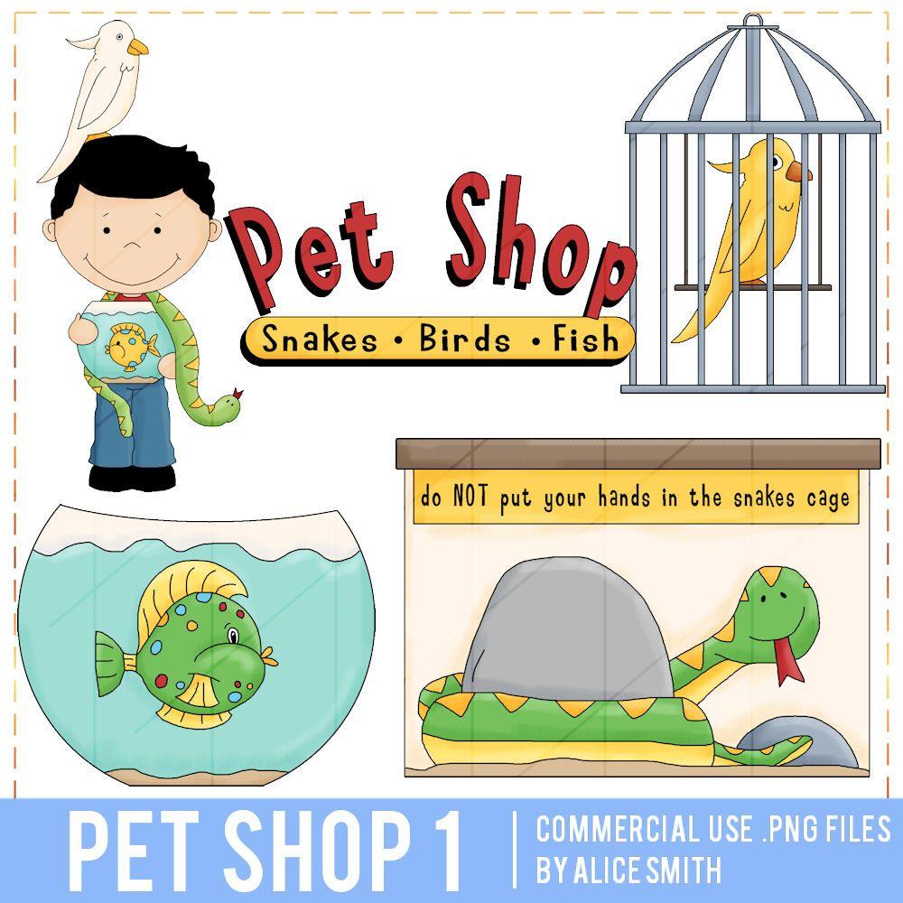 Pet Shop Clip Art Snakes Birds Fish By Alice Smith Clip Art Pet Shop Digital Stamps