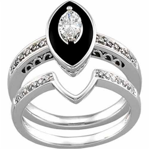 14k White Gold Antique Inspired Marquise Black Onyx Diamond Wedding Ring Set For Only 2 359 00