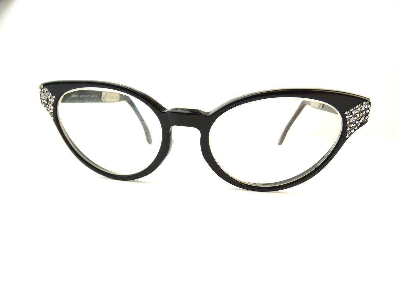 Jean lafont eyeglasses frames - 1960s Cateye Jean Lafont Black Rhinestone Eyeglasses