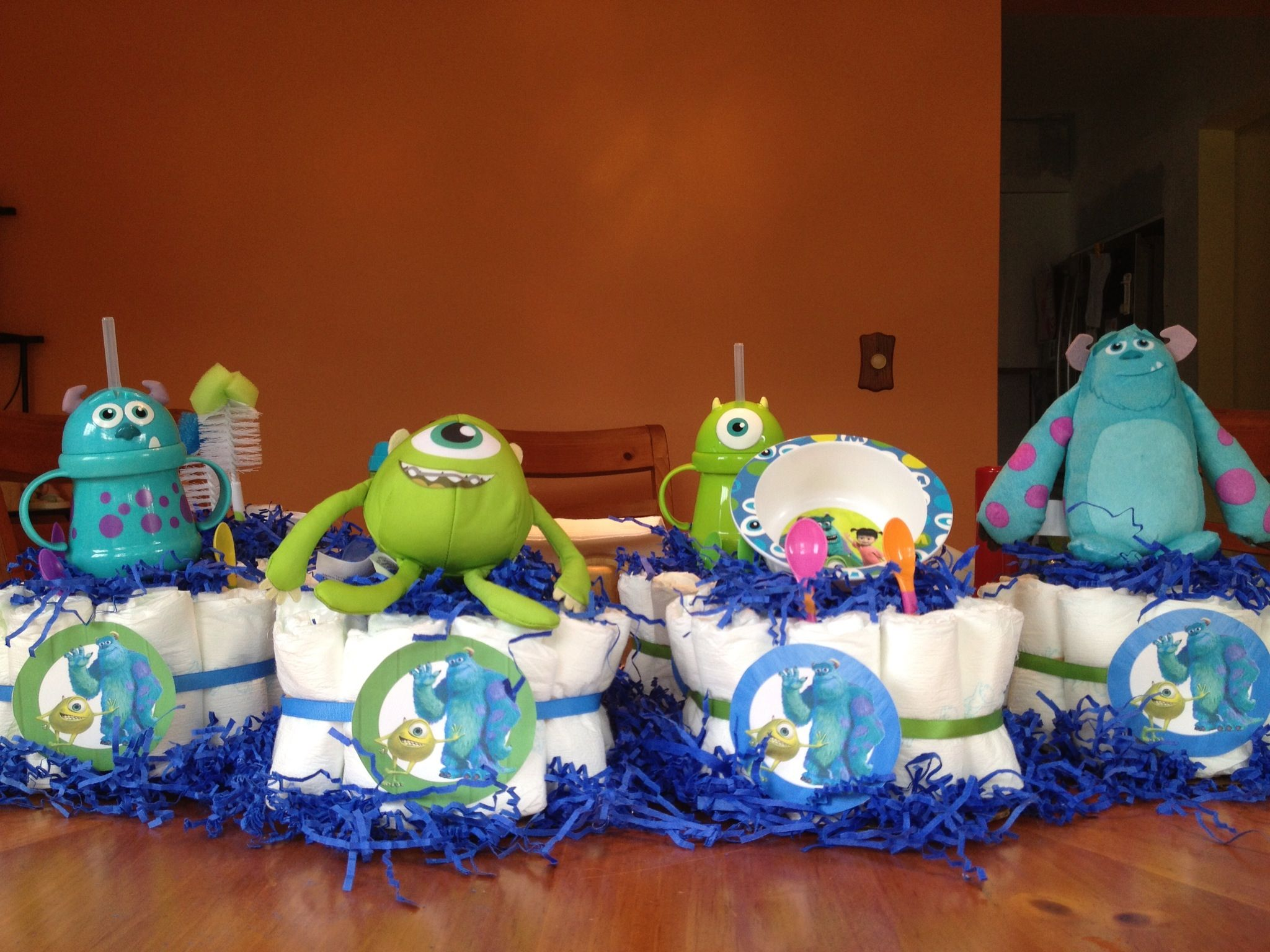 Monster Inc Baby Shower Decorations Monsters Inc Baby Shower Centerpiece Wild Flowers Mason Jars