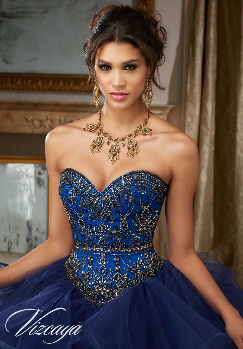 90e604f9999 Morilee Vizcaya Quinceanera Dress 89118 JEWELED BEADING ON FLOUNCED TULLE  BALL GOWN Matching Bolero Jacket. Available in Navy Royal