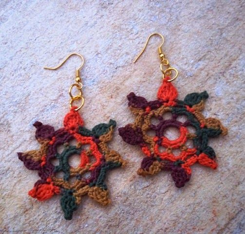Brinco de Crochê Mandala Sol / Mandala Sun Earring Crochet