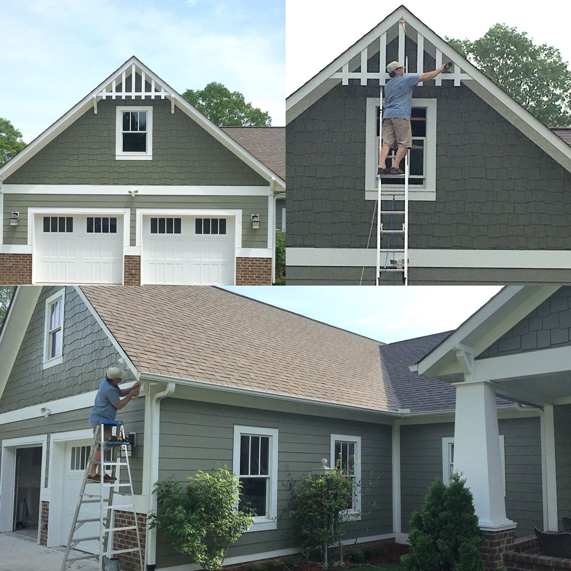 Ronnie installing his diy garage gable trim corbels 4 30 for Gable garage