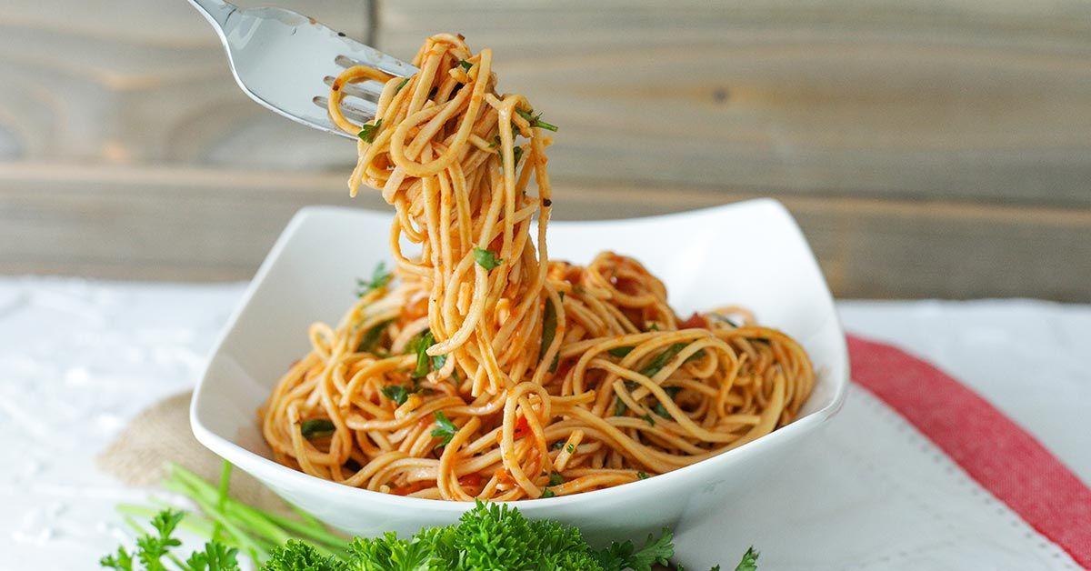 10 Minute Protein Packed Vegan Spaghetti In 2020 Macro Meals Vegan Spaghetti Avatar Nutrition