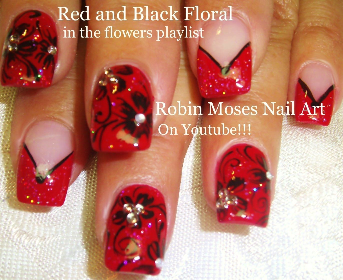 2 Nail Art Tutorials DIY Flower Nails Easy Red & Black