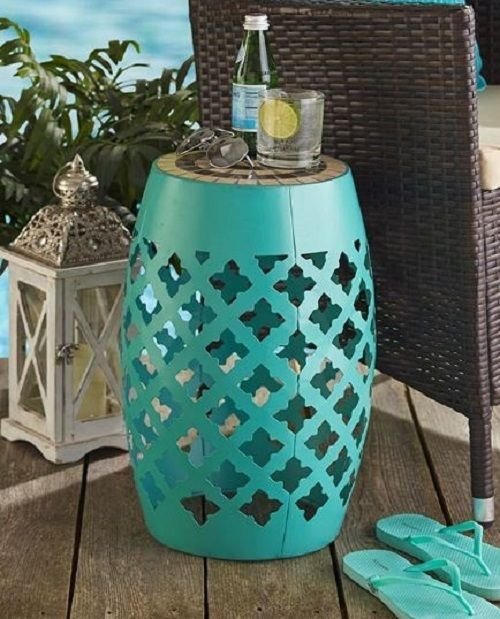 Small End Table Tile Top Metal Garden Stool Accent Decorative Mosaic Patio  Side #Unbranded #