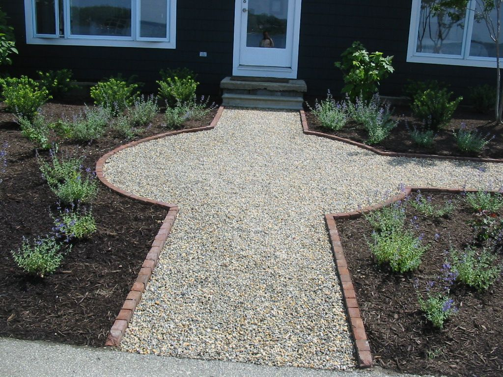pea gravel walkway bordered with brick j g projects. Black Bedroom Furniture Sets. Home Design Ideas