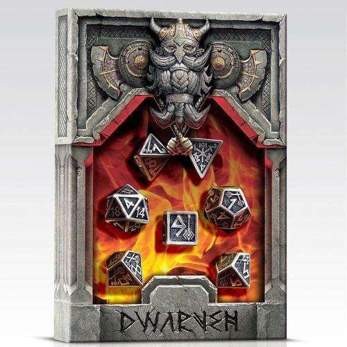 Metal Black Dwarven 7 RPG Dice Set by Q Workshop for Warhammer D D   eBay