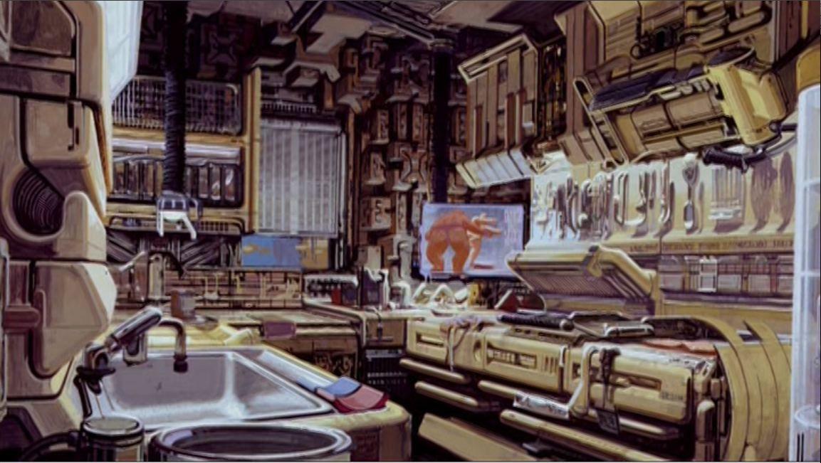 Deckard 39 s apartment cyberpunk concept art and sci fi for Cyberpunk interior design