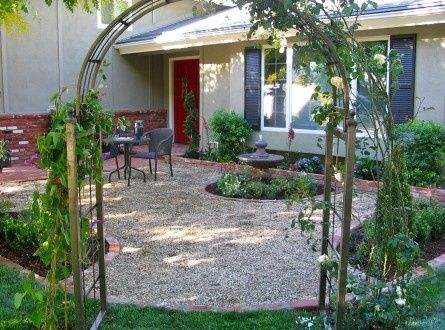 Gravel Patio I Like The Arbor And The Circular Planter Beds