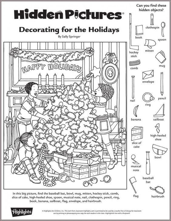 Pin By Hadinhnhan On Activities For Kids Hidden Pictures Hidden Picture Puzzles Christmas Worksheets Christmas hidden picture puzzles printable