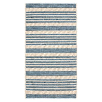 Safavieh Teppich safavieh santorini stripe outdoor rug beige blue outdoor rugs