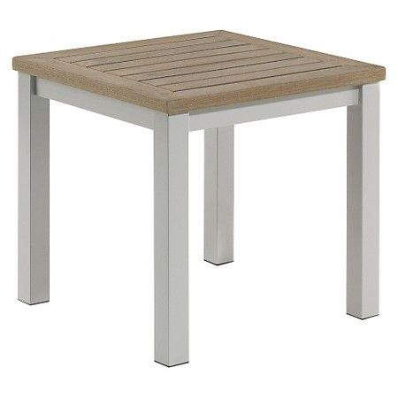Travira Metal/Faux Wood Patio End Table : Target   Aluminum
