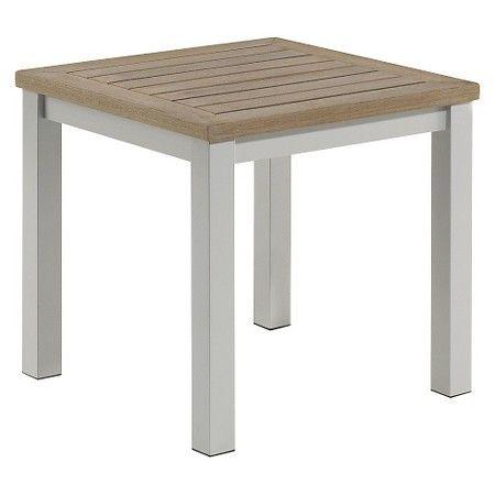 Travira Metal/Faux Wood Patio End Table : Target   Aluminum