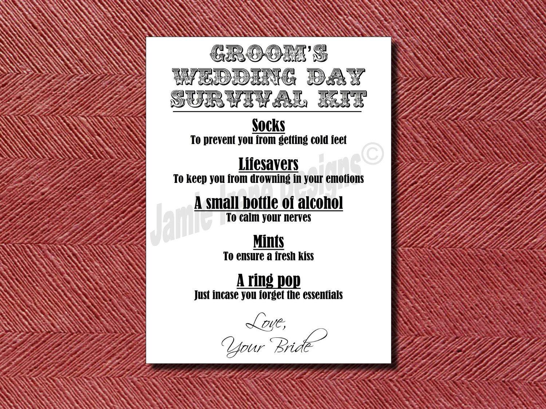 Custom Designed Wedding Day Groom S Survival Kit Card Or Sign Diy Print Ready 5 99