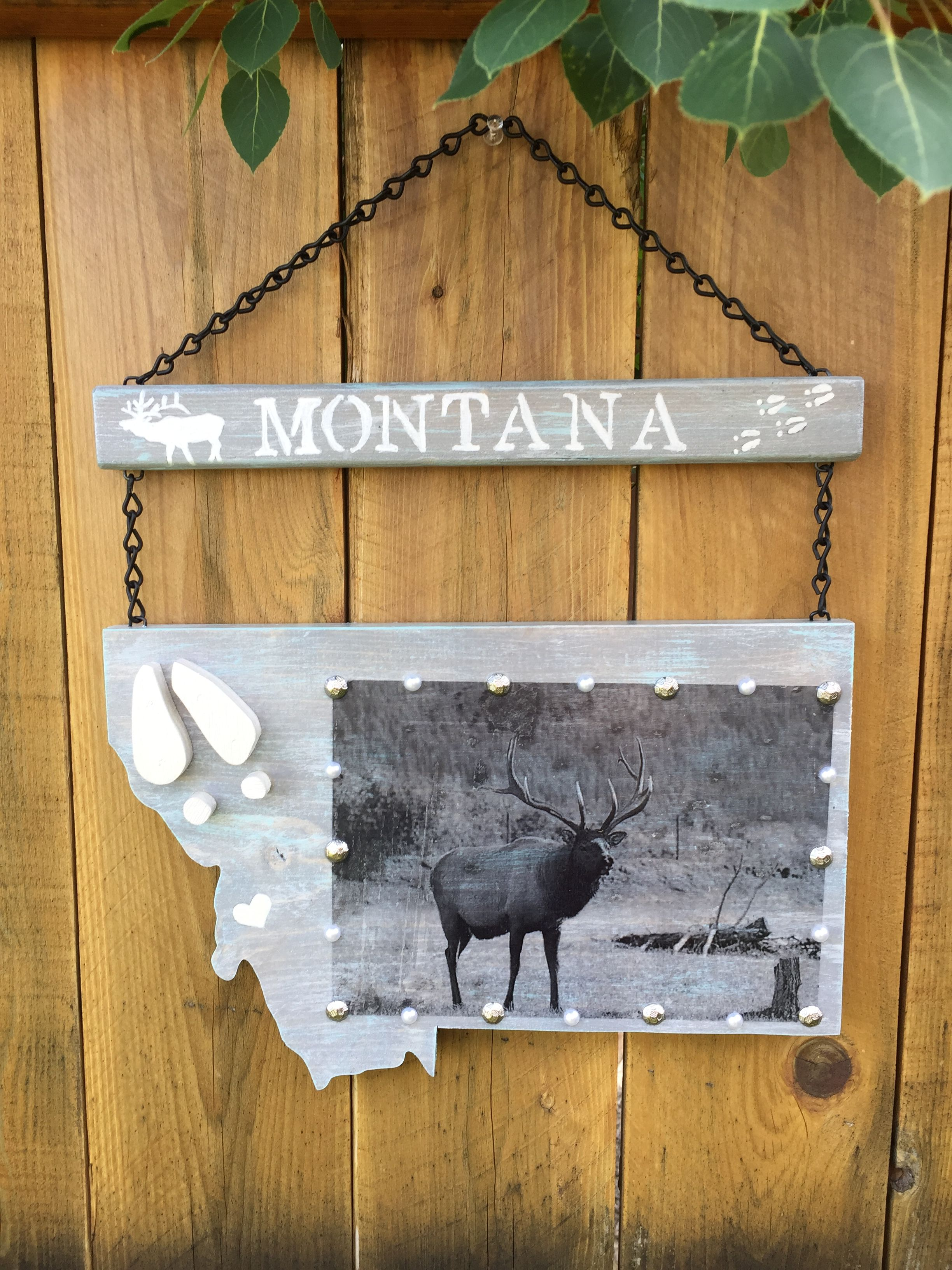 Montana Elk Sign Stained Grey And Whiteteal Chalk Painted