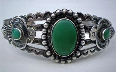 Cuff Designer Navajo Silver and turquoise ca 1930 Navajo