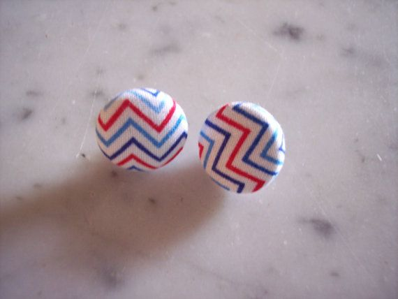 Fabric Covered Button Earrings Red White Light by OnAWhimBoutique, $4.95