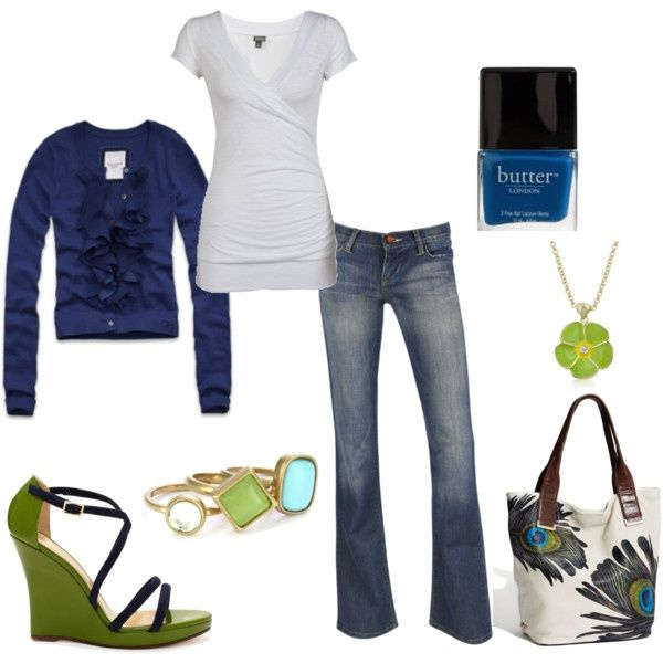 outfits- casual with blue and bright green