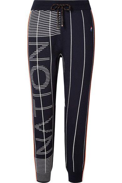 57d0d7cc03744 P.E Nation - Reserve Jacquard-knit Track Pants - Navy