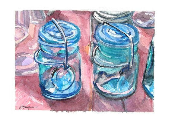 Mason Jars Watercolor Print Two Vintage Mason Jars by GwenMeyerson, $20.00 #art #home