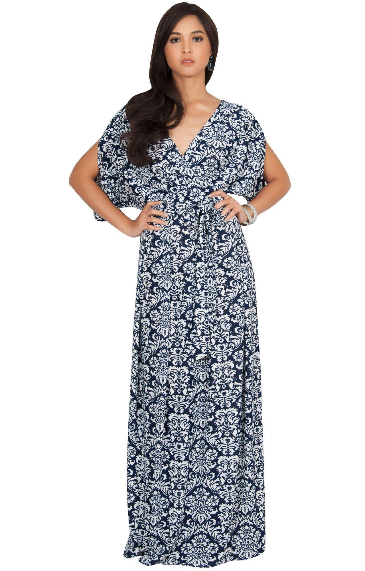 94e98a79f282c Women Maternity Clothes - KOH KOH Plus Size Womens Long VNeck Short Sleeve  Bohemian Print Flowy