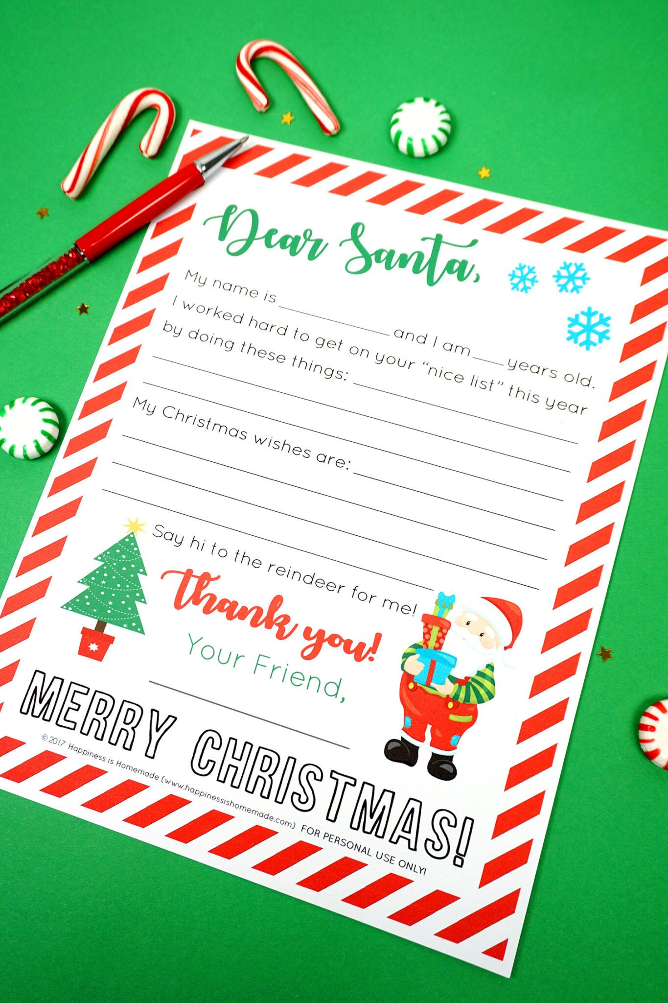 Free Printable Letter To Santa Happiness Is Homemade