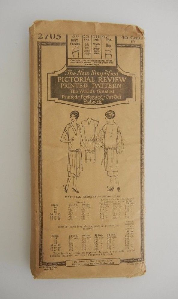 ANTIQUE SIMPLIFIED PICTORIAL REVIEW PRINTED SEWING PATTERN 2705 LADIES KIMONO | eBay