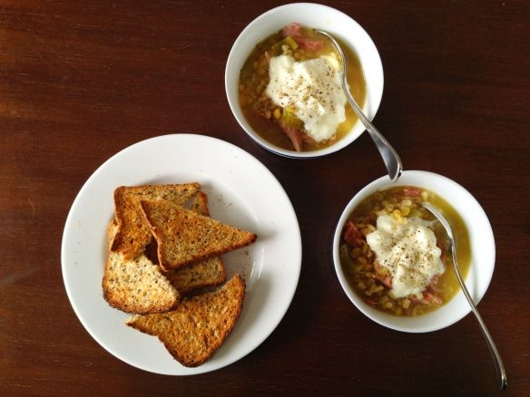 Pea & Ham Soup at timeforalittlesomething.com