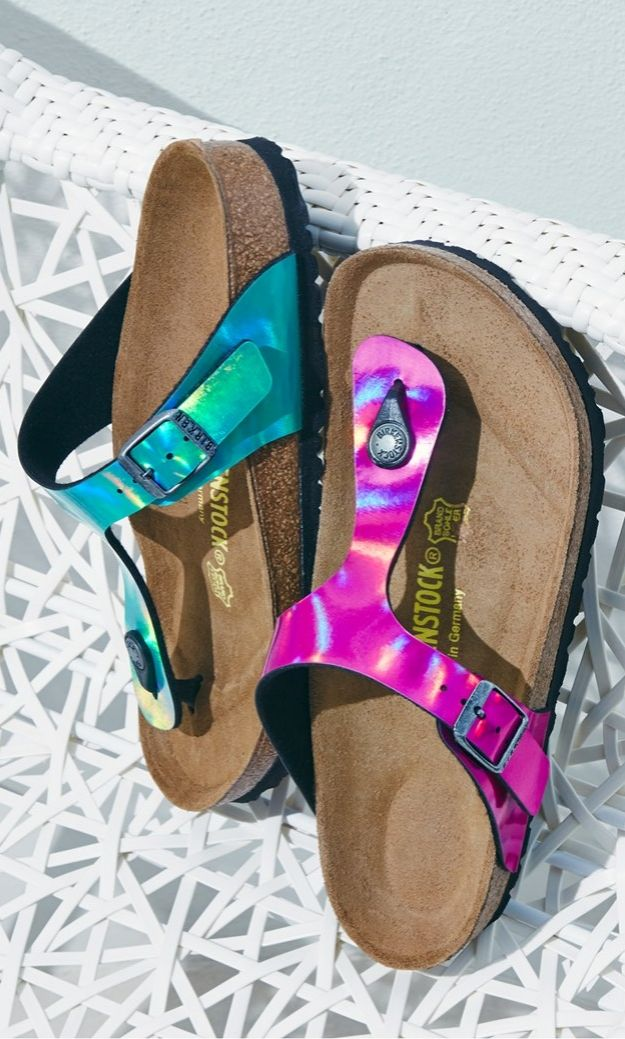 62c270a974f These green and pink iridescent Birkenstocks just scream summer ...