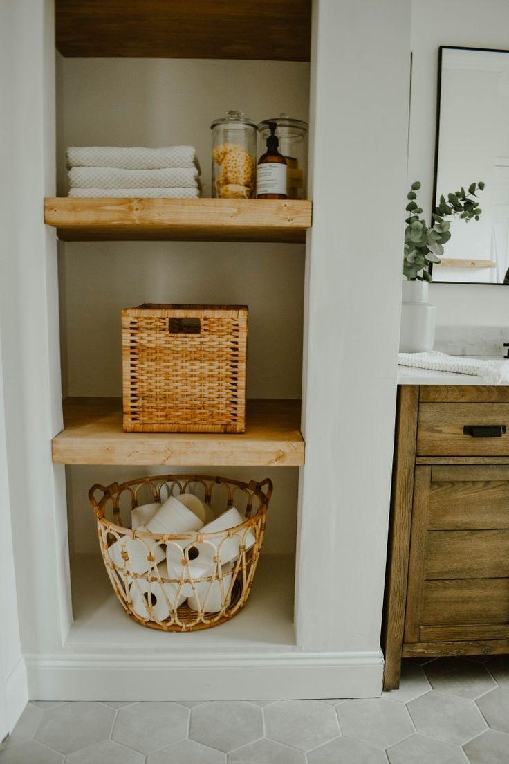 Photo of How to Transform a Linen Closet to Open Shelving | Eclectic bathroom, Diy bathroom remodel, Bathroom