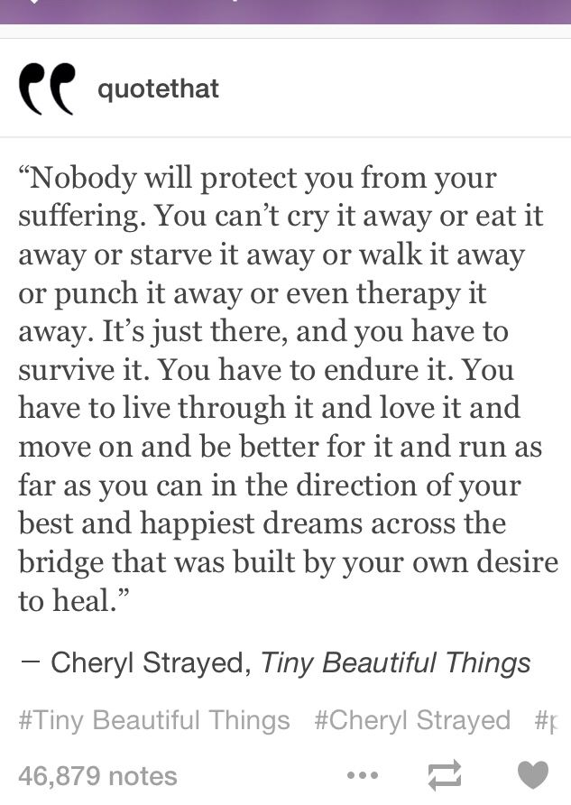 Nobody Will Protect You From Your Suffering Cheryl Strayed Tiny