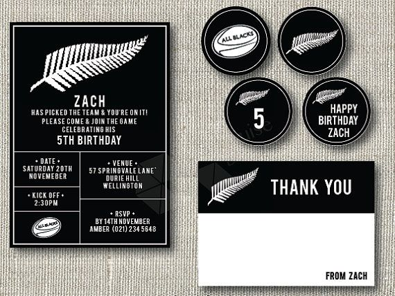 all blacks birthday invitation free thank you card rugby party