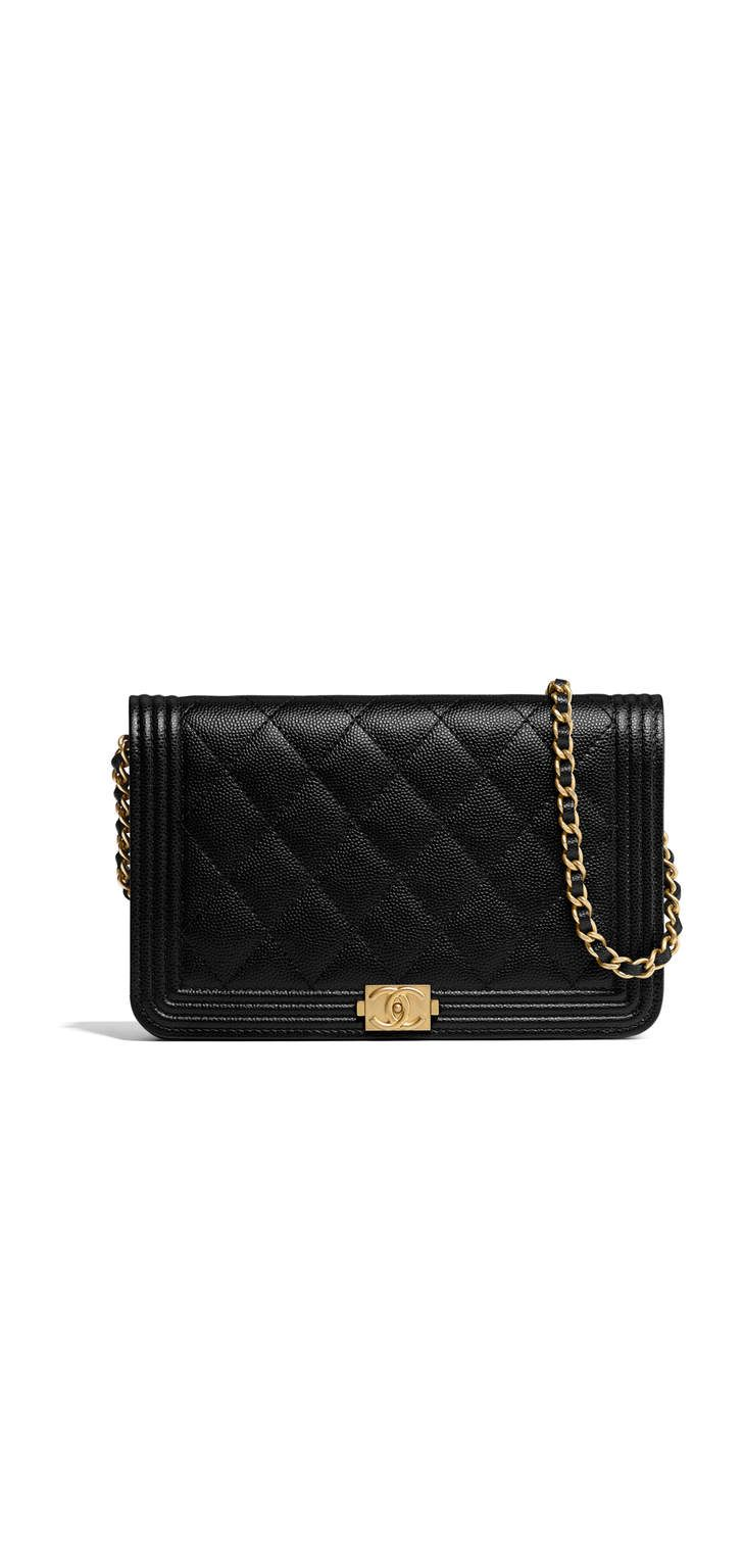 686ae2aaf1bf7f BOY CHANEL wallet on chain, grained calfskin & gold-tone metal-black -  CHANEL