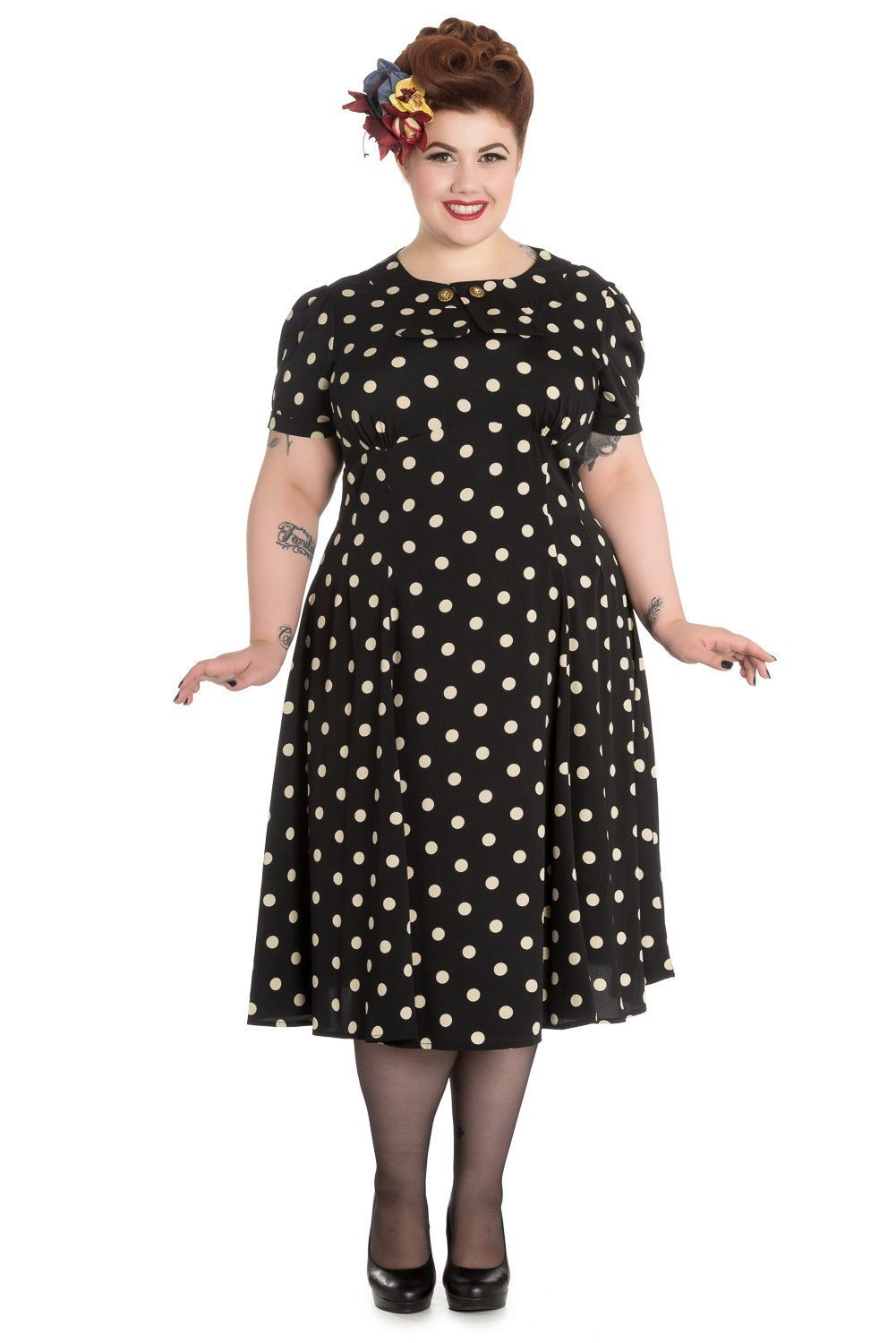 50\'s Retro Vintage Sweet Office Lady Black Mod Polka Dot Dress in ...