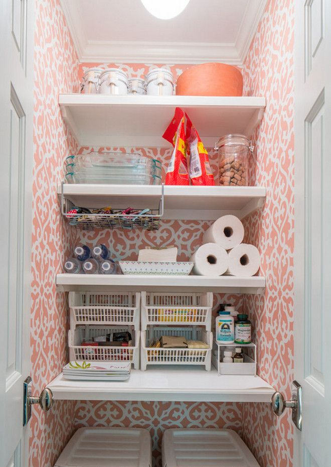 Small Kitchen Pantry Ideas With Shelving And Wallpaper Smallkitchenpantry Kitchenpantry Taste Design Inc