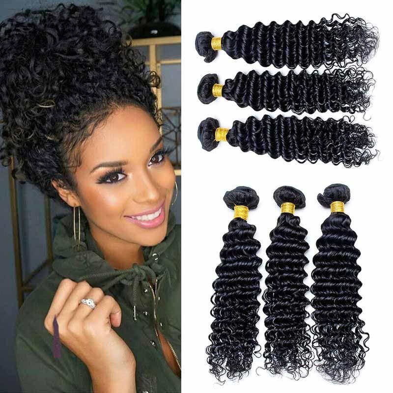 Deep Wave Brazilian Human Hair Weaves 100 Unprocessed Human Hair