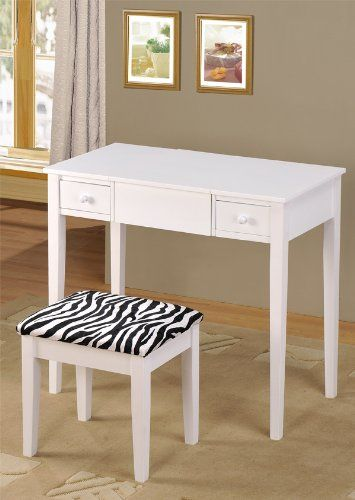 ABC Contemporary Vanity Set With Flip Mirror Top And Zebra Print Stool  White Finish More: