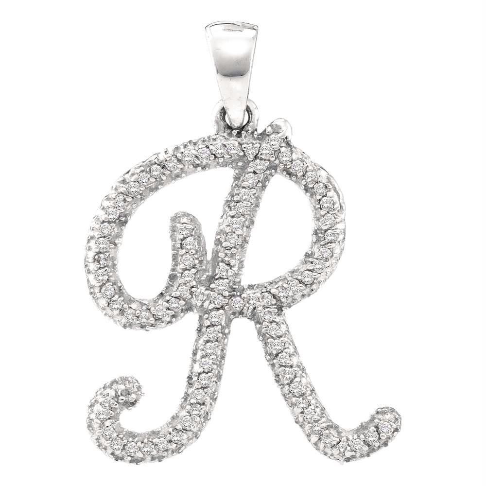 10kt White Gold Women's Round Diamond Cursive Letter R