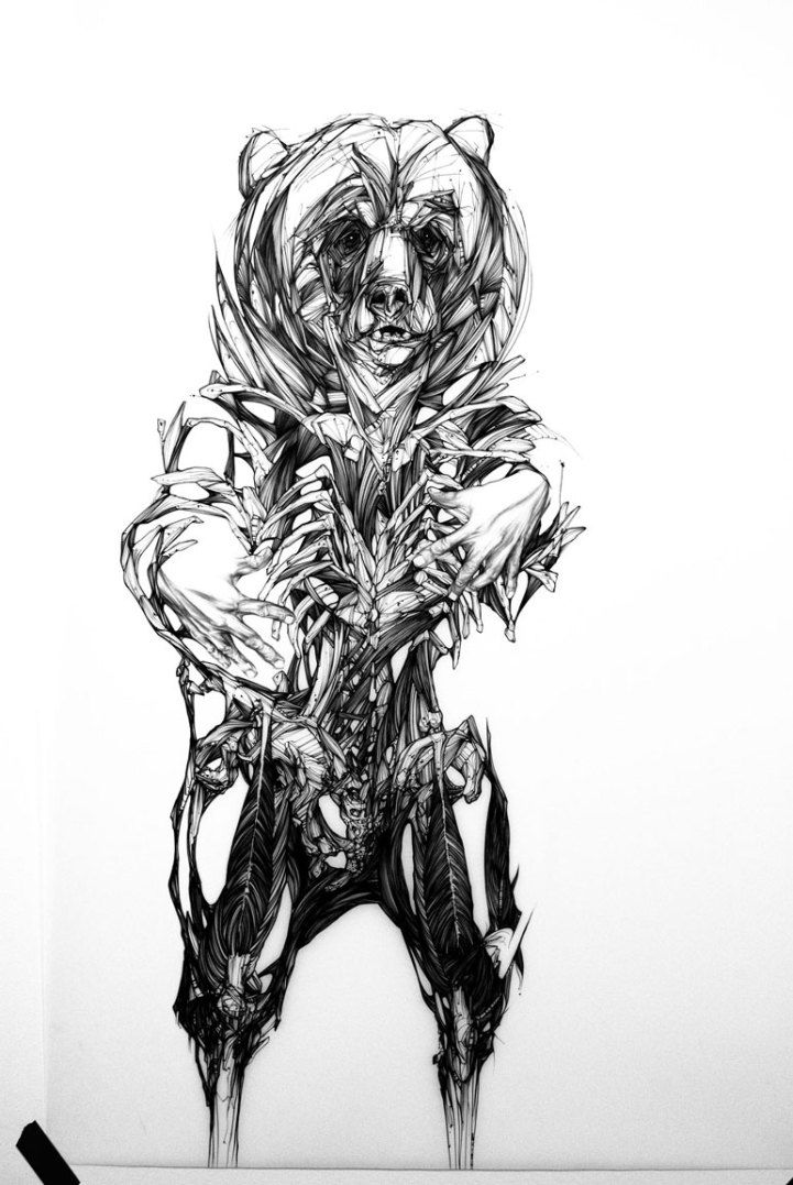 Powerful Ink Drawings Of Possessed Animals Suvivre Pour Vivre