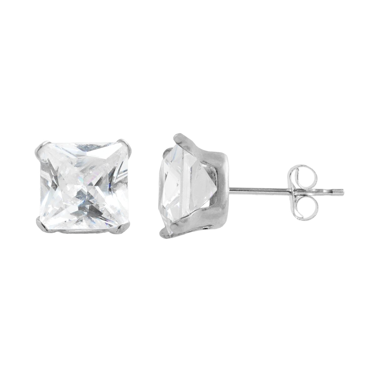 10k White Gold Cubic Zirconia Square Stud Earrings Square Earrings Studs Stud Earrings Square Stud