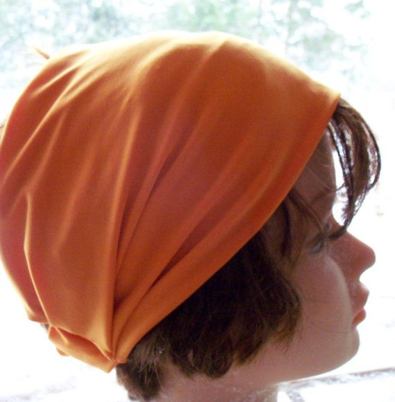 HEADBAND Soft Harley ORANGE STRETCH JERSEy Knit Wide by silcoon52, $8.99