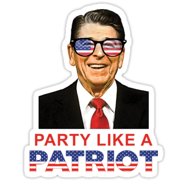 Party Like A Patriot Ronald Reagan Usa Flag Sunglasses Sticker By Trendytees12 Sunglasses S Usa Flag Ronald Reagan Party