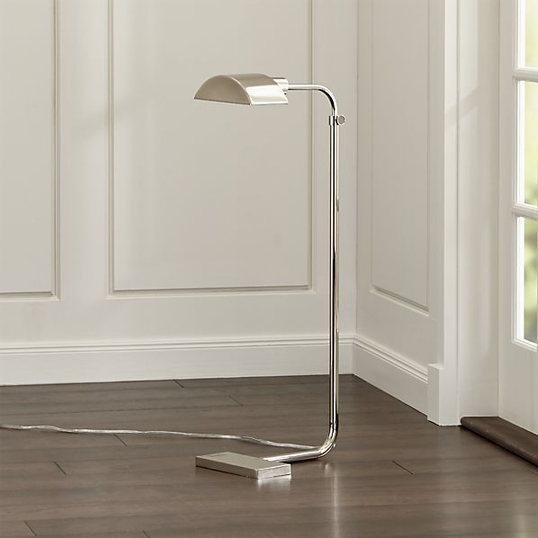 Theorem Polished Nickel Floor Lamp | Crate and Barrel