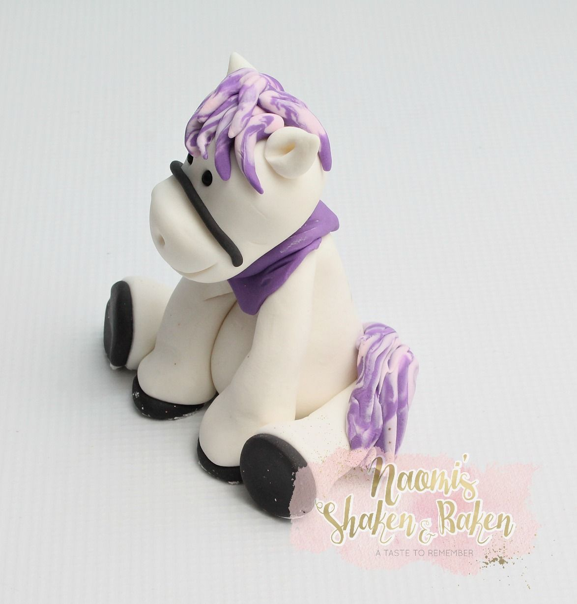 Cute horse with pink and purple hair edibletopper topper