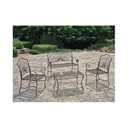 Outdoor Patio Furniture Set Wrought Iron Loveseat Sets Deck Table Chairs  Bench #Traditional