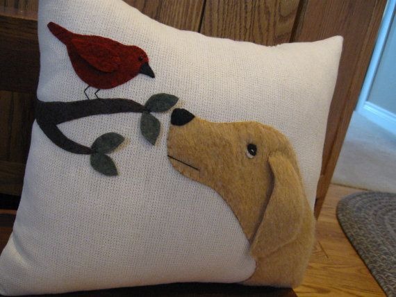 Puppy dog and bird wool applique pillow ..will you be my friend