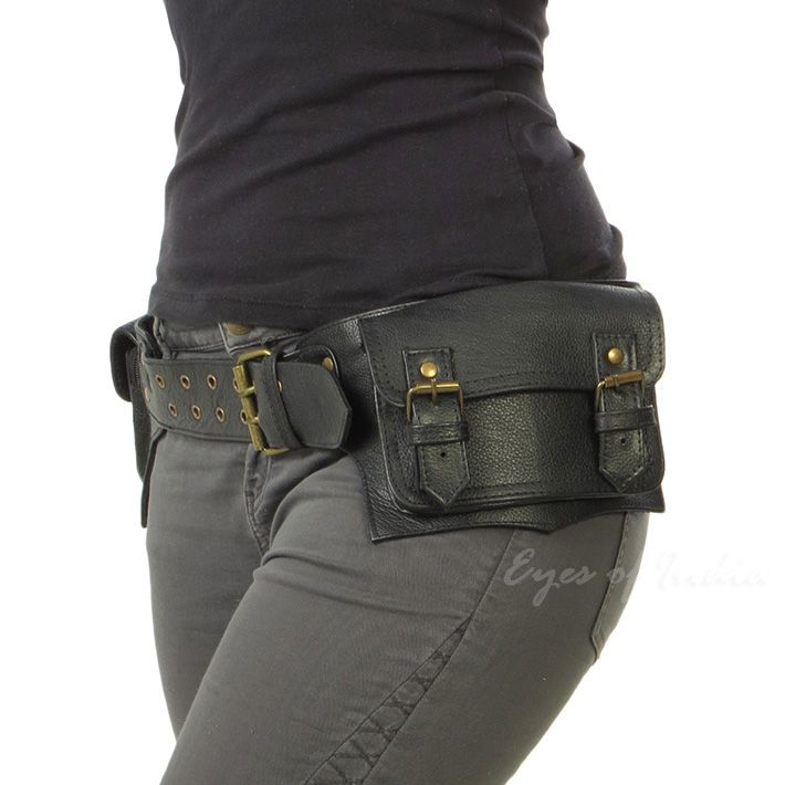 f26ddbe03d9 Black or Brown Leather Double-Sided Pocket Belt Bag Fanny Bum Waist ...